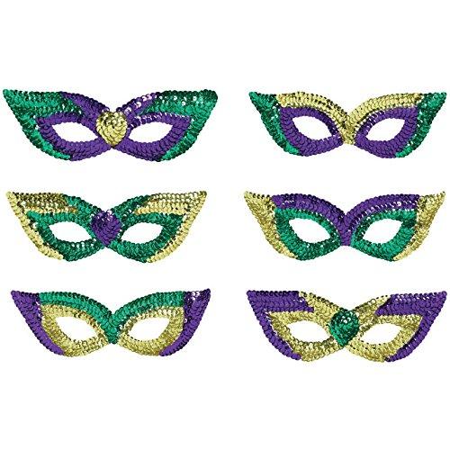 Sequin Mardi Gras Eye Masks 6ct ()