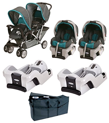 Amazon Graco DuoGlider Folding Double Stroller With SnugRide Car Seats 2 Extra Seat Bases Free Travel Bag Baby