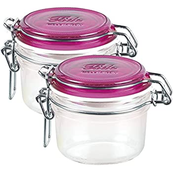 Bormioli Rocco Fido Round Jar with Fuchsia Lid, 4.25 Ounce, Pack of 2