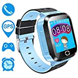 Kids GPS Smartwatch,1.44 inch Touch Anti-lost Smart Watch for Children Girls Boys with Camera SOS Call Location Pedometer WristWatch Remote Monitor for iPhone Android (Blue)