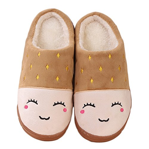 CYBLING Womens Plush Lovely Bedroom Indoor Slipper Non-Slip Soft Sole Fur Lining Brown rzwYKqkzew