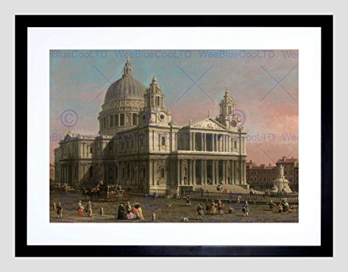 PAINTINGS OLD MASTER CANALETTO ST PAULS CATHEDRAL LONDON FRAMED PRINT B12X4815