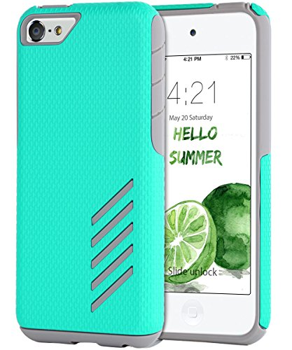 iPod Touch Case,iPod Touch 5 Case,iPod Touch 6 Case,BENTOBEN Slim Case Dual Layer Hybrid Shockproof Rugged Hard PC Soft TPU Bumper Protective Case Cover for iPod Touch 5 6th generation,Mint Green/Grey