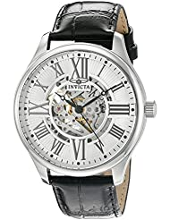 Invicta Mens Vintage Automatic Stainless Steel and Leather Casual Watch, Color:Black (Model: 22566)