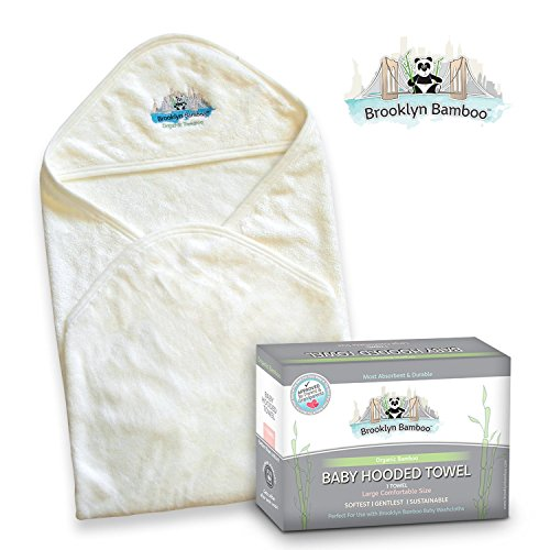 Brooklyn Bamboo Baby Hooded Towel, Soft, Hypoallergenic Thick, Organic, Infant & Toddler Layette & Registry & Gift Basket Sets, Large (Basket Bath Baby New Gift)