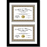 CreativePF [14x20.5bk-w] Double Diploma Frame with White Mat, Holds Two 8.5 by 11-inch Documents with Wall Hanger