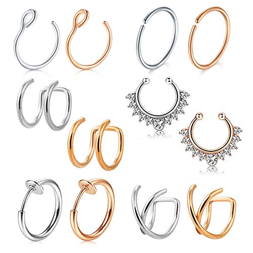 (D.Bella Fake Nose Ring Hoop, 12pcs Rose Gold Silver Faux Fake Lip Ear Nose Septum Ring Non-Pierced Clip On Nose Ear Rings)