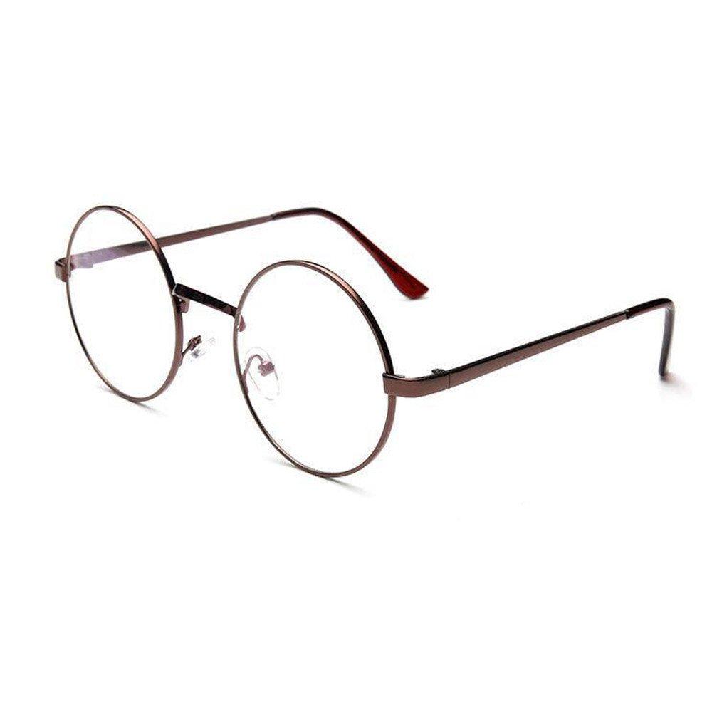 FEDULK Unisex Classic Retro Eyewear Metal Frame Mirror Cute Fashion Rounded Glasses(E, Free Size)