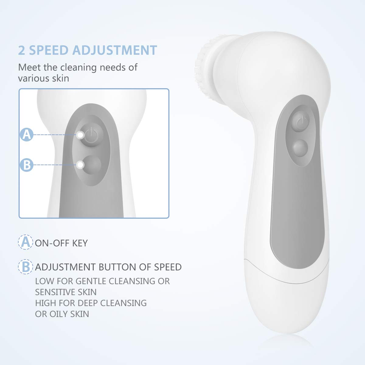 Facial Cleansing Brush, Waterproof Face Spin Brush with 7 Exfoliating Brush Heads - Gray