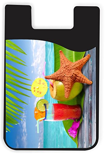 Rikki Knight Coconuts Cocktails with Starfish on Blue Design Silicone Phone Card Holder Wallet for iPhone/Galaxy All Android Smartphones - with Removable Soft Microfiber Screen Cleaner