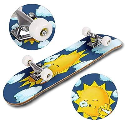 Cuskip Stoner Sun Skateboard Complete Longboard 8 Layers Maple Decks Double Kick Concave Skate Board, Standard Tricks Skateboards Outdoors, 31