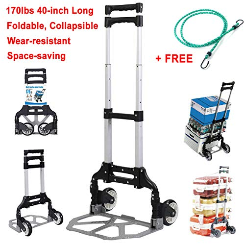 (170 lbs 40-inch Foldable, Collapsible, Space-Saving Aluminium Cart Luggage Trolley Hand Truck and Dolly Ideal for Home, Auto, Office and Travel Use + Free Bungee Cord (Black))