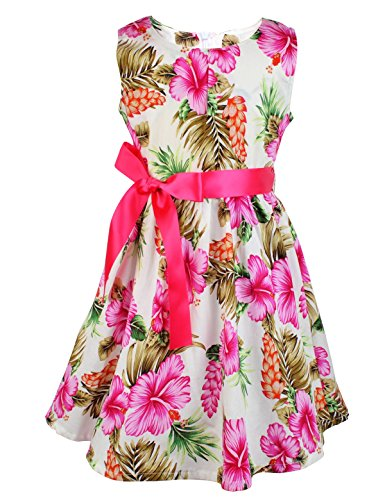 Floral Toddler hot Pink Dress for Girls,Leaf Flower Print,3-4 Years(Size 110)