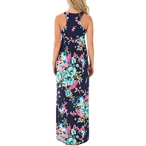 Dearlovers Women Sleeveless Racerback Floral Printed Long Maxi Casual Dress