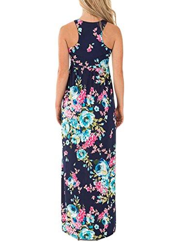 Navy Dress Jug Long Casual Print amp;Po Women's Blue Sleeveless Floral Maxi xqgzAwpx