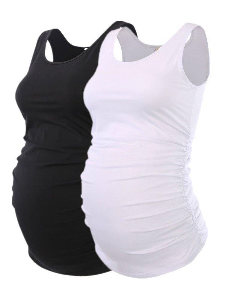 Liu & Qu Maternity Basic Tank Top Mama Clothes Neck Sleeveless Tops Women's Solid Side Ruching Vest (L, Blackwhite) by Liu & Qu