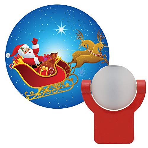Santa Reindeer Lights - Projectables 11360 Santa & Reindeer LED Plug-In Night Light, Auto On/Off, Light Sensing, Projects Christmas Image of Santa Claus and Reindeer on Ceiling, Wall or Floor