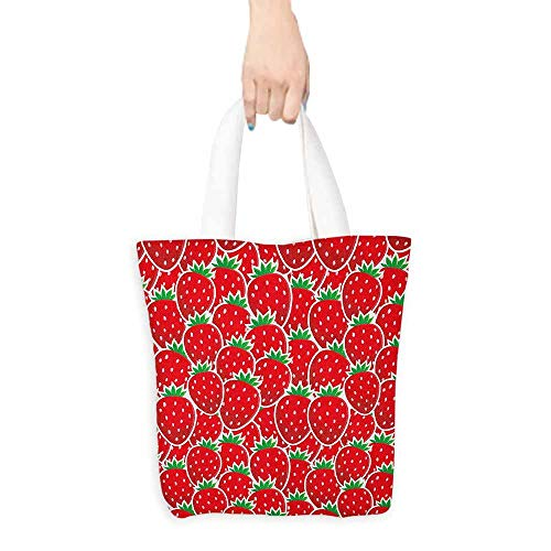 - Canvas shopping bag,Fruits Strawberry Themed Botany Seeds Yummy Food Organic Growth Diet Health Print,Reusable Grocery Bags,16.5