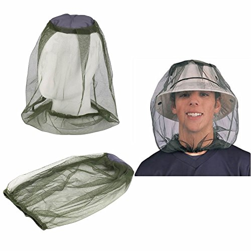 SCASTOE Outdoor Camping Anti mosquito Mask Hat with Repellent Net Mesh Face Protection