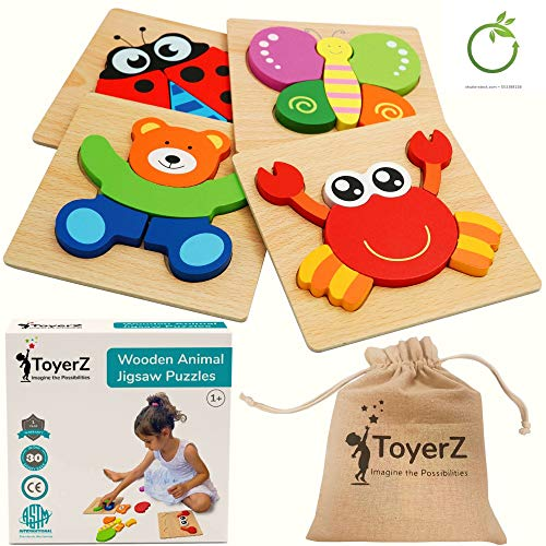 Wooden Jigsaw Puzzles for Toddlers 1 2 3 Years old ,Educational Animal Puzzles Shapes in a Gift Box. Montessori Wooden Color Puzzles for Boys and Girls. Learning Toy Gift for Toddlers.