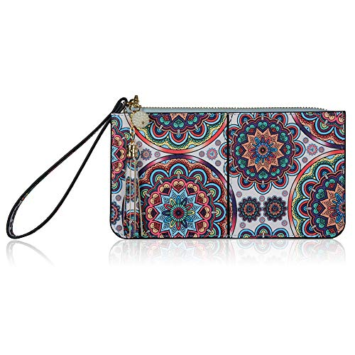 Befen Women Leather Zipper Phone Wallet with Card Holder/Cash Pocket/Wrist Strap (Turquoise Floral)