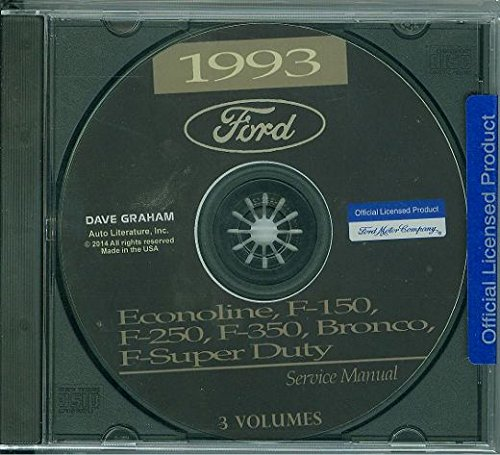 1993 FORD TRUCK, PICKUP & VAN FACTORY REPAIR SHOP & SERVICE MANUAL CD - INCLUDES Bronco, F-150, F-250, F350, Econoline E-150, E-250, E-350, F-Super Duty -COVERS Engine, Body, Chassis & ()