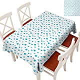WinfreyDecor Flow Spillproof Fabric Tablecloth Tablecloth Thick Original Restaurant Watercolor Drip Drops Pattern in Various Sizes Terrain Humidity Zone Sign Blue White 60' × 84'