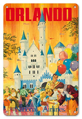 Pacifica Island Art 8in x 12in Vintage Tin Sign - Orlando - Florida, USA - Walt Disney World Resort - National Airlines by Bill Simon
