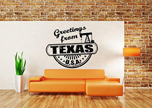 Wall Sticker Greeting From Texas USA State Sign Logo Emblem Vinyl Mural Decal Art Decor -