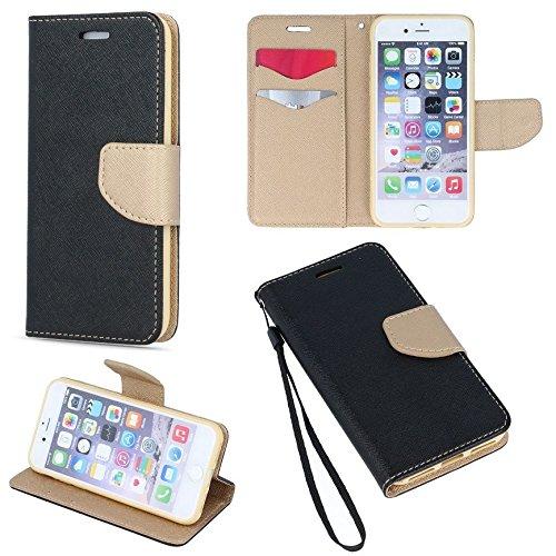 Book Case Fancy pour téléphone portable Huawei P Smart Cover Étui à rabat forme de livre Support en silicone pour cartes de crédit en plastique (Noir–Or)