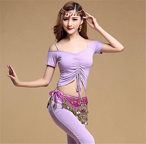 Usage de la pratique de la danse du ventre en couleur unie / 2pcs / vêtements de yoga confortables courte violet vOAdS