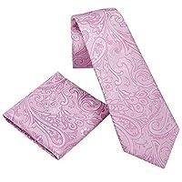 Donum Paisley Silk Tie Necktie Set 10x10 Inch Silk Pocket Square Handkerchief