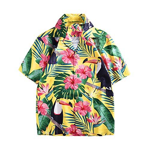 (Men Tops awaiian Printed Summer Shirt Fashion Couple Casual Short-Sleeved Quick Dry Button Down Beach Blouse Z-Green2)