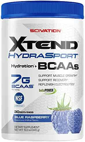 Scivation Xtend Hydrasport BCAA Powder, Branched Chain Amino Acids, BCAAs, Zero Sugar Electrolyte Drink Powder + Hydration, Blue Raspberry, 30 Servings