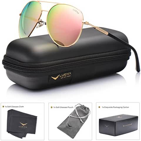 LUENX Aviator Sunglasses Womens Polarized Mirror with Case - UV 400 Protection