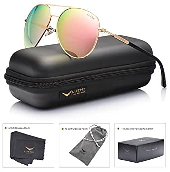 Womens Mens Sunglasses Aviator Polarized Pink Mirror by LUENX - UV 400 Protection Plastic Lens Metal Gold Frame 60mm