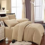 COT PRINTS® 100% Premium Cotton 300 TC King Size Double Bed Sheet Set (1 Sheet And 2 Pillow Covers)(Light Coffee)