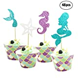 48 Pieces Mermaid Cupcake Toppers and Wrappers-Decoration for Little Mermaid Theme, Under The Sea Theme, Baby Shower Birthday Party Favors,Mermaid Tail, Seahorse,Starfish and Mermaid Food Picks
