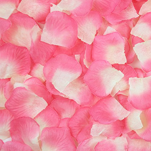 JUYO VONSAN 1000pcs Rose Petals Wedding Odorless Flowers Petals Favors for you special wedding (Pink plus White)