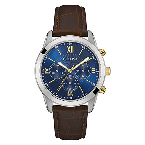 Bulova 98A151 Men's Brown Leather Band Blue Dial Sports Dress Chronograph Watch