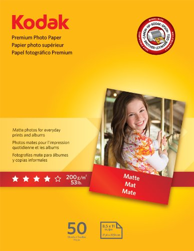 Kodak Premium Photo Paper, 8.5 x 11 Inches, Matte, 50 sheets (8621690), Office Central