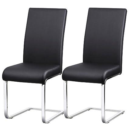 Sedie Moderne Pelle E Acciaio.Yaheetech Set 2 Sedie Sala Da Pranzo Moderne Per Cucina Ufficio In Ecopelle E Acciaio Cromato Nere