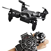 Kids Drone RC Mini Quadcopter Watch Style Remote Control Fold Mini Drone, 2.4G 4CH 4 Axis Headless Mode Portable Pocket Drone for Kids