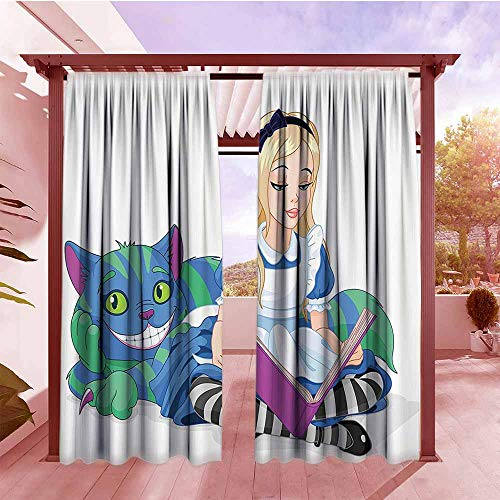 DGGO Curtain Tailored Alice in Wonderland Decorations Alice Reading Book Cat Colorful World Happiness Love Character Illustration Room Darkening, Noise Reducing W84x96L Multi]()