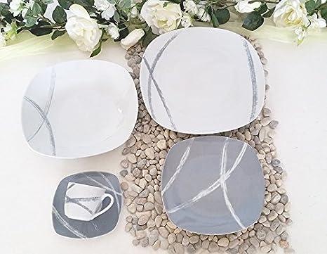 Servizio piatti porcellana con tazzine caffè 62 pezzi per 12 persone ...