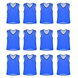 Nylon Mesh Scrimmage Team Practice Vests Pinnies Jerseys for Children Youth Sports Basketball, Soccer, Football, Volleyball (Blue, Youth)