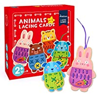 MiDeer Button-Up Wooden Animals Lacing Cards Fine Motor Skill Educational Sewing Toys for Preschool Children Kids - Edu Toys