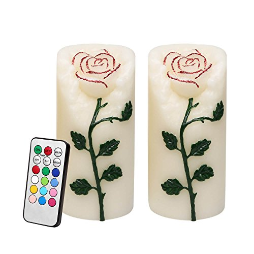 - Rose Flower Multi Color Flameless Candles with Remote Timer, Real Wax Battery Operated Led Pillar Candles for Valentine's Day Decoration & Festival Parties, Flickering Color Changing Flame, Set of 2