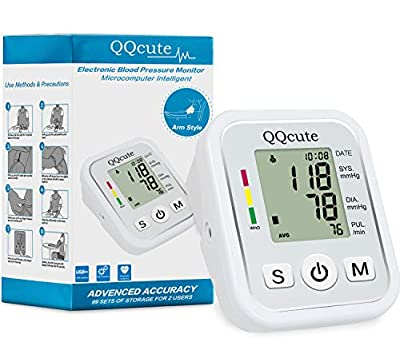 QQCute Automatic Digital Blood Pressure Monitor, Professional and Accurate BP Monitor with Clear LCD Display & Hypertension Reminder
