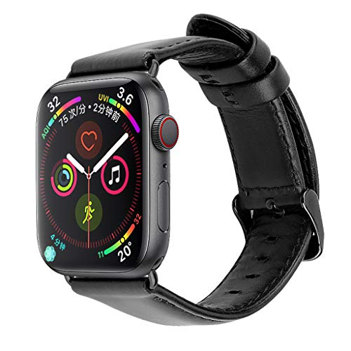 (Replacement Watch Band for Apple Watch Series 4 3 2 1 Soft Comfortable Leather Easy Fit Adjustable Buckle Strap Bracelet 38mm / 42mm for Men and Women (Black, 42mm))